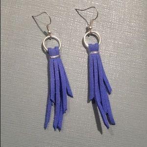 Jewelry - Earrings -Blue leather tassel